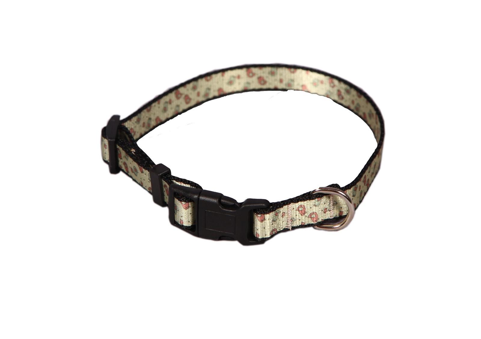 -Ошейник Joy для собак, 2АМО00589,  бежевый, розовый, черный, стропа, 15 мм, 30- 40 см