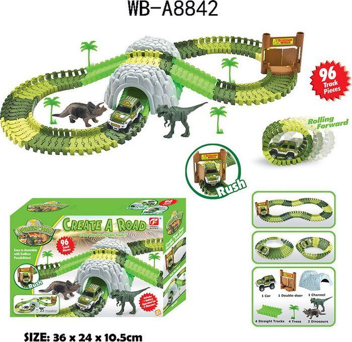 """Гибкий трек Junfa Toys """"Мир динозавров"""", 96 деталей"""