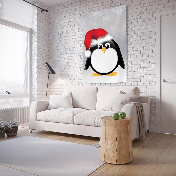 Панно с фотопринтом на стену JoyArty Пингвин в шапке, tp_11274267, 150x200 см комплект термобелья мужской серебряный пингвин лонгслив кальсоны цвет черный с 6051 к размер 48