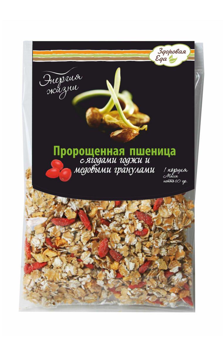 Хлопья-мюсли Энергия Жизни Здоровая Еда. Пророщенная пшеница с годжи и медовыми гранулами, 120 г бады цинк селен