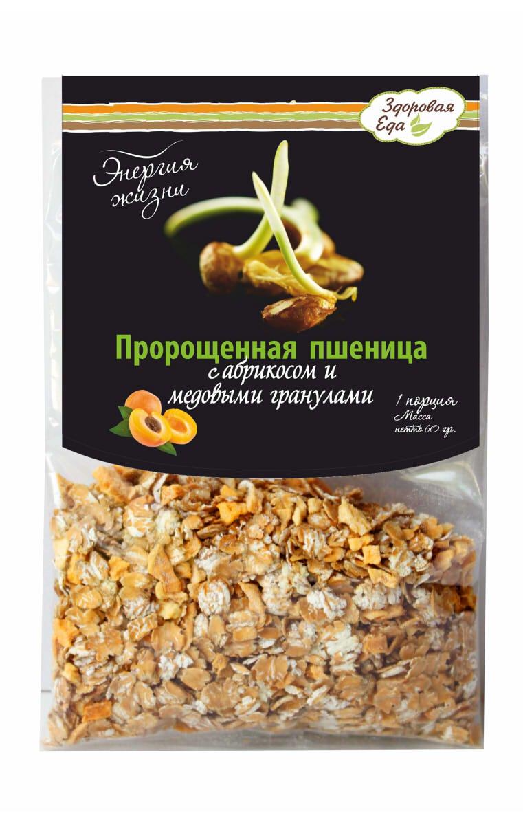 Хлопья-мюсли Энергия Жизни Здоровая Еда. Пророщенная пшеница с абрикосом и медовыми гранулами, 120 г бады цинк селен