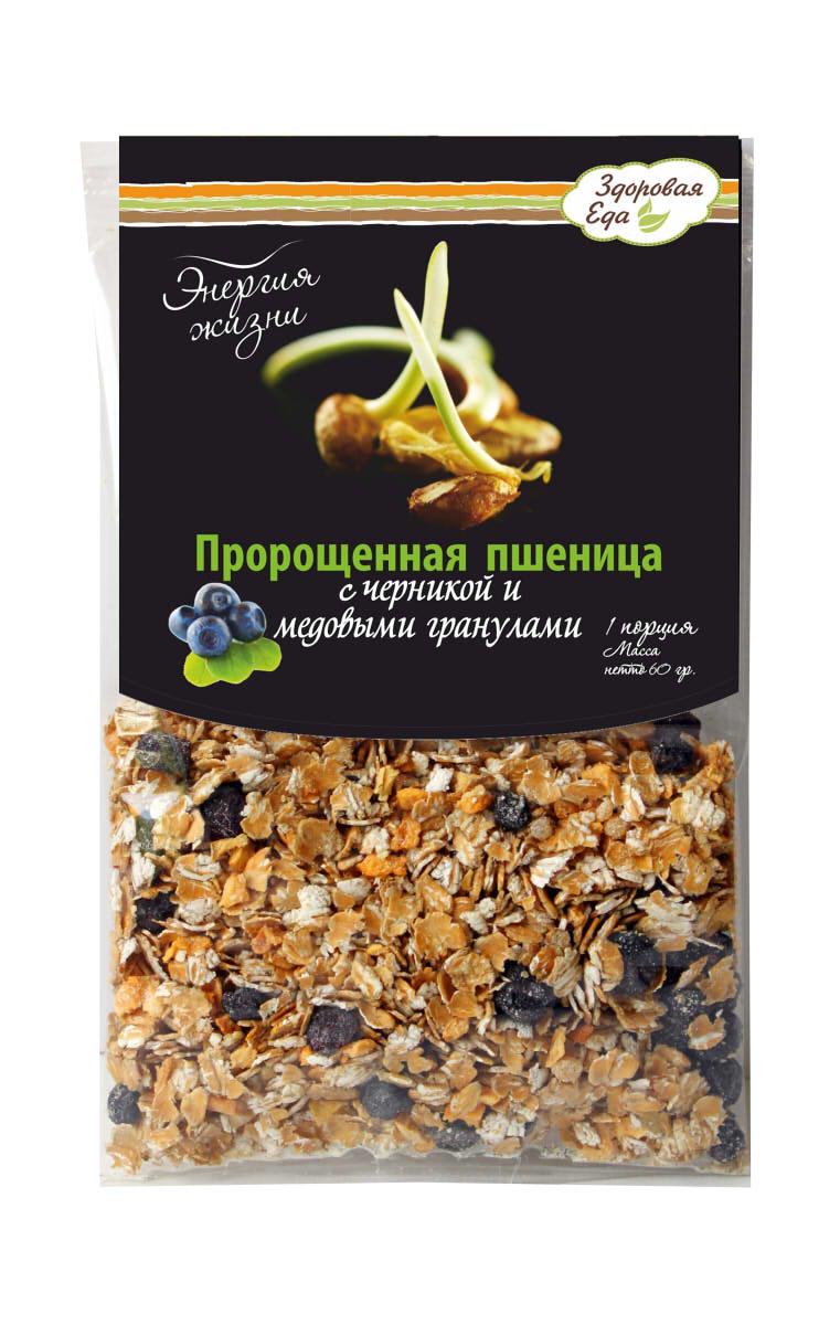 Хлопья-мюсли Энергия Жизни Здоровая Еда. Пророщенная пшеница с черникой и медовыми гранулами, 120 г бады цинк селен
