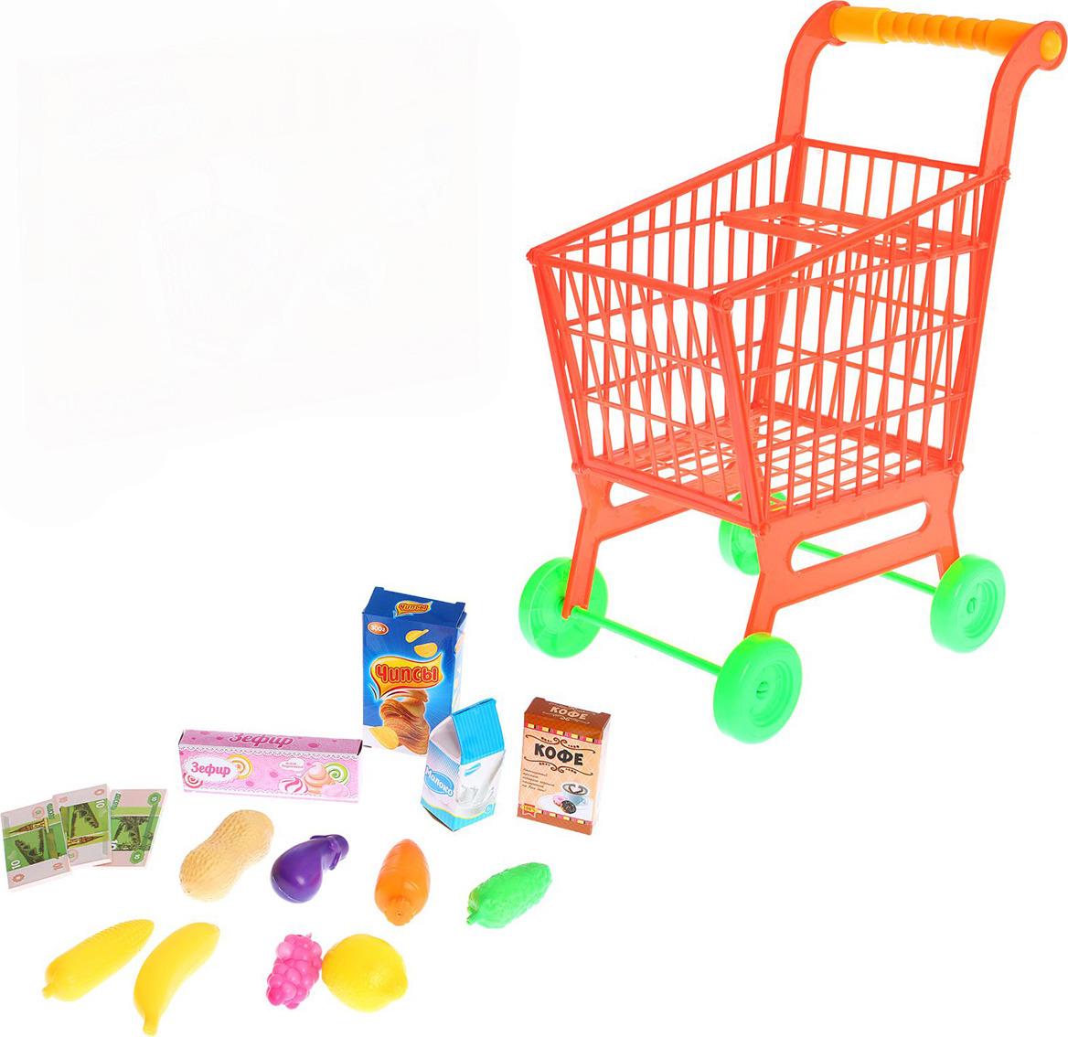"""Набор игровой """"Мини магазин. Супермаркет"""", 593642, тележка с продуктами"""