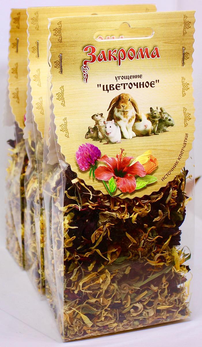 Лакомство Закрома Цветочное для грызунов, 4620770270258, 3 шт по 35 г лакомство для грызунов закрома веточки яблони и березы 100 г