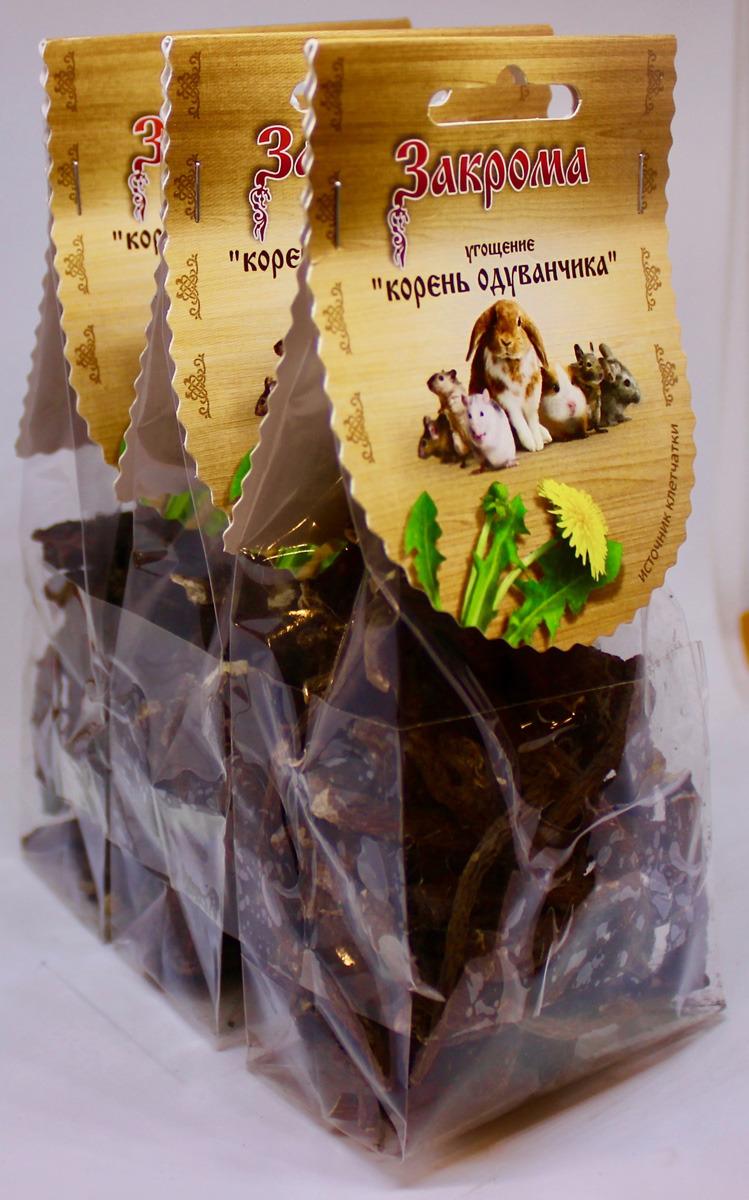 Лакомство Закрома Корень одуванчика для грызунов, 3 шт по 70 г лакомство для грызунов закрома веточки яблони и березы 100 г