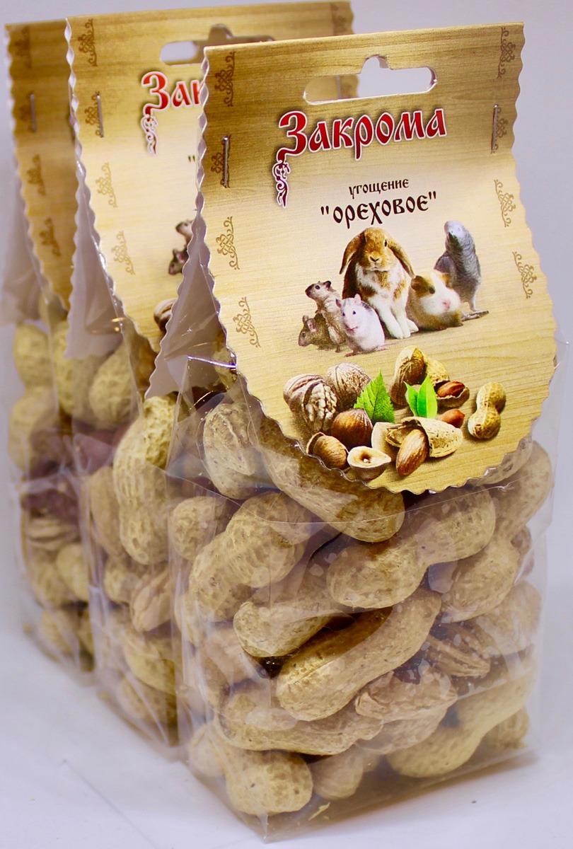Лакомство Закрома Ореховое для грызунов, 3 шт по 100 г лакомство для грызунов закрома веточки яблони и березы 100 г