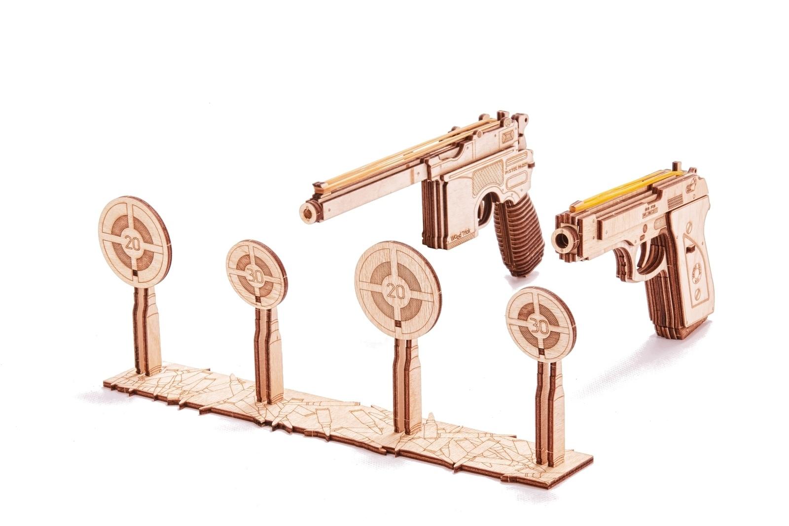 Механический конструктор из дерева Wood Trick Набор пистолетов