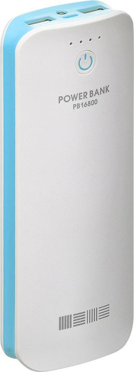 Внешний аккумулятор Interstep PB16800, Li-Ion, белый, голубой цена