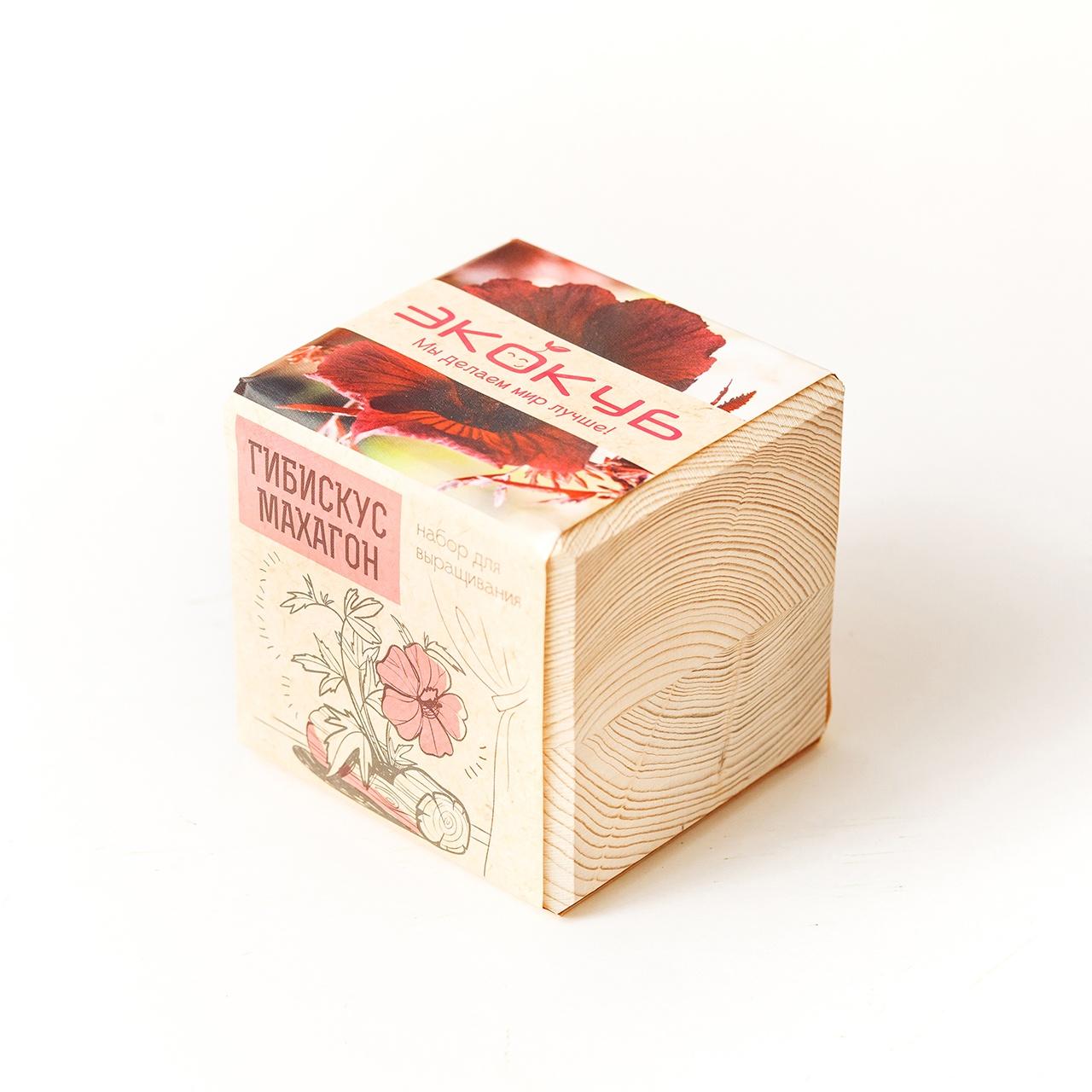 Набор для выращивания Экокуб Гибискус Махагон набор для опытов и экспериментов набор для выращивания экокуб базилик