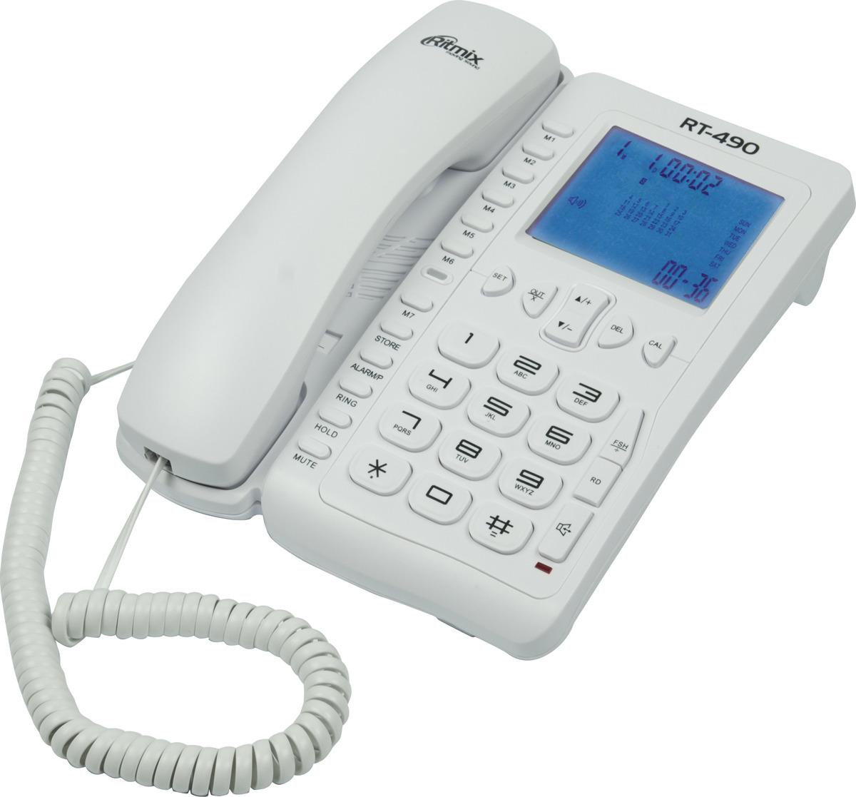 Телефон Ritmix RT-490, белый телефон ritmix rt 520