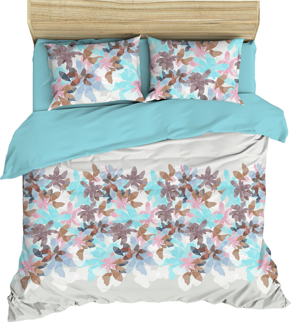 Комплект постельного белья Василиса, 184945, 1,5 спальный, наволочки 70x70, голубой комплект постельного белья василиса 185625 2 х спальный наволочки 70x70 голубой