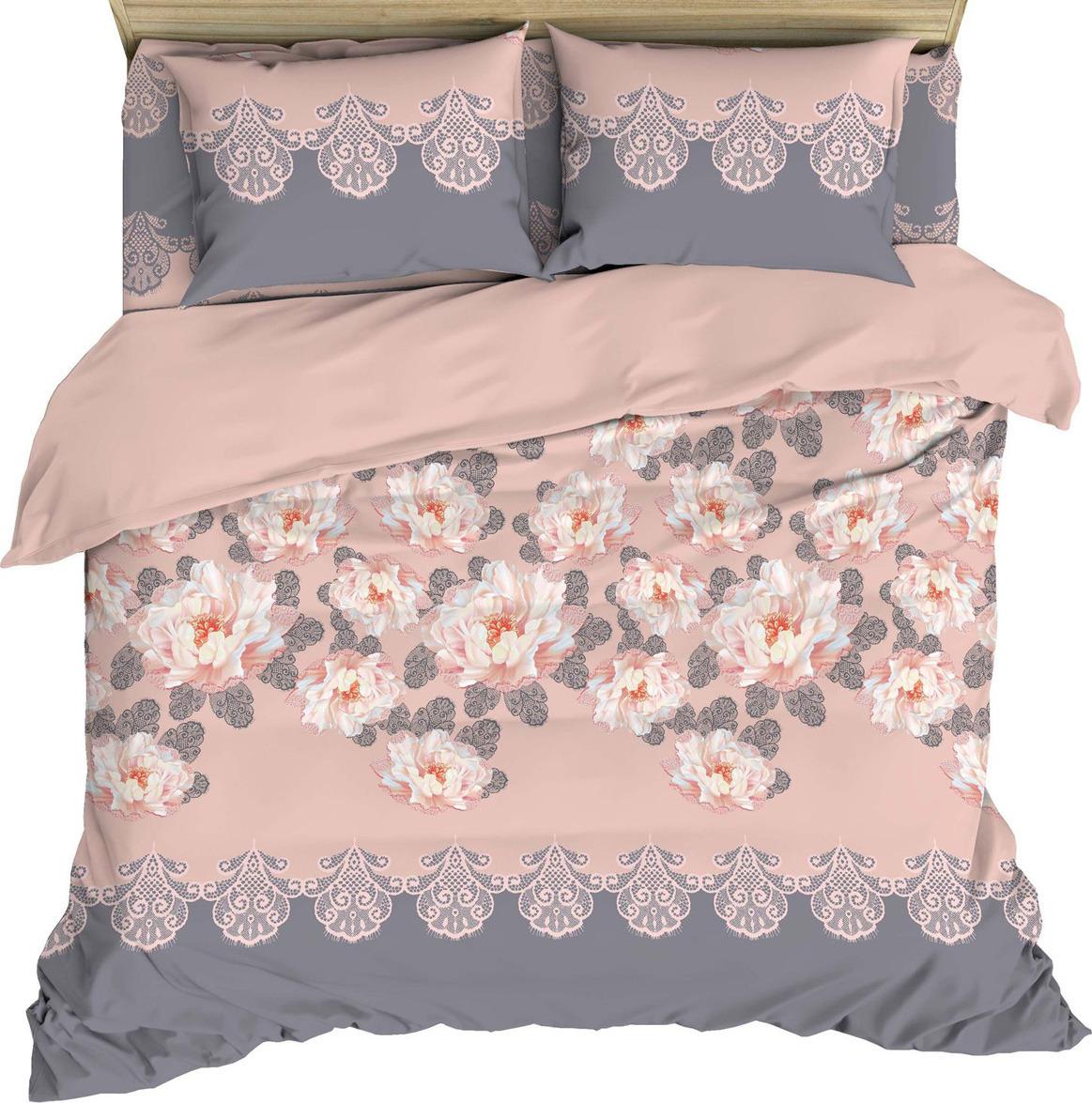 Комплект постельного белья Василиса, 184946, 2-х спальный, наволочки 50x70, 70x70, розовый комплект постельного белья василиса 185625 2 х спальный наволочки 70x70 голубой