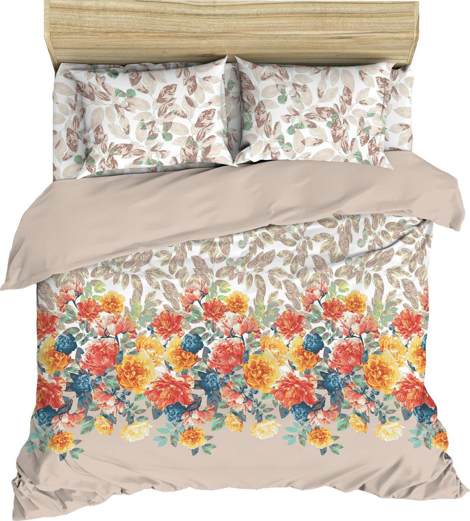 цена Комплект постельного белья Василиса, 184955, евро, наволочки 50x70, 70x70, коралловый онлайн в 2017 году