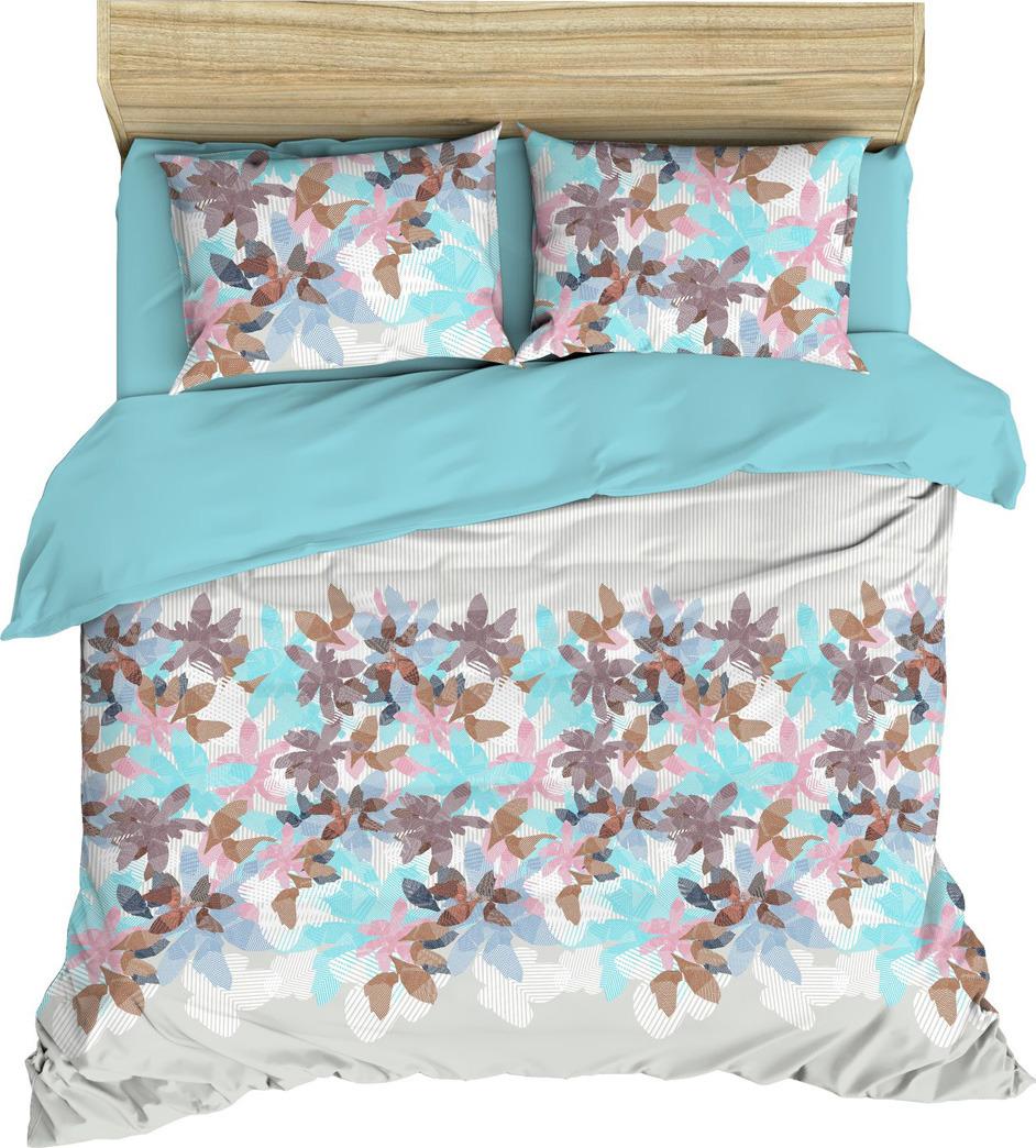 цена Комплект постельного белья Василиса, 184954, евро, наволочки 50x70, 70x70, голубой онлайн в 2017 году