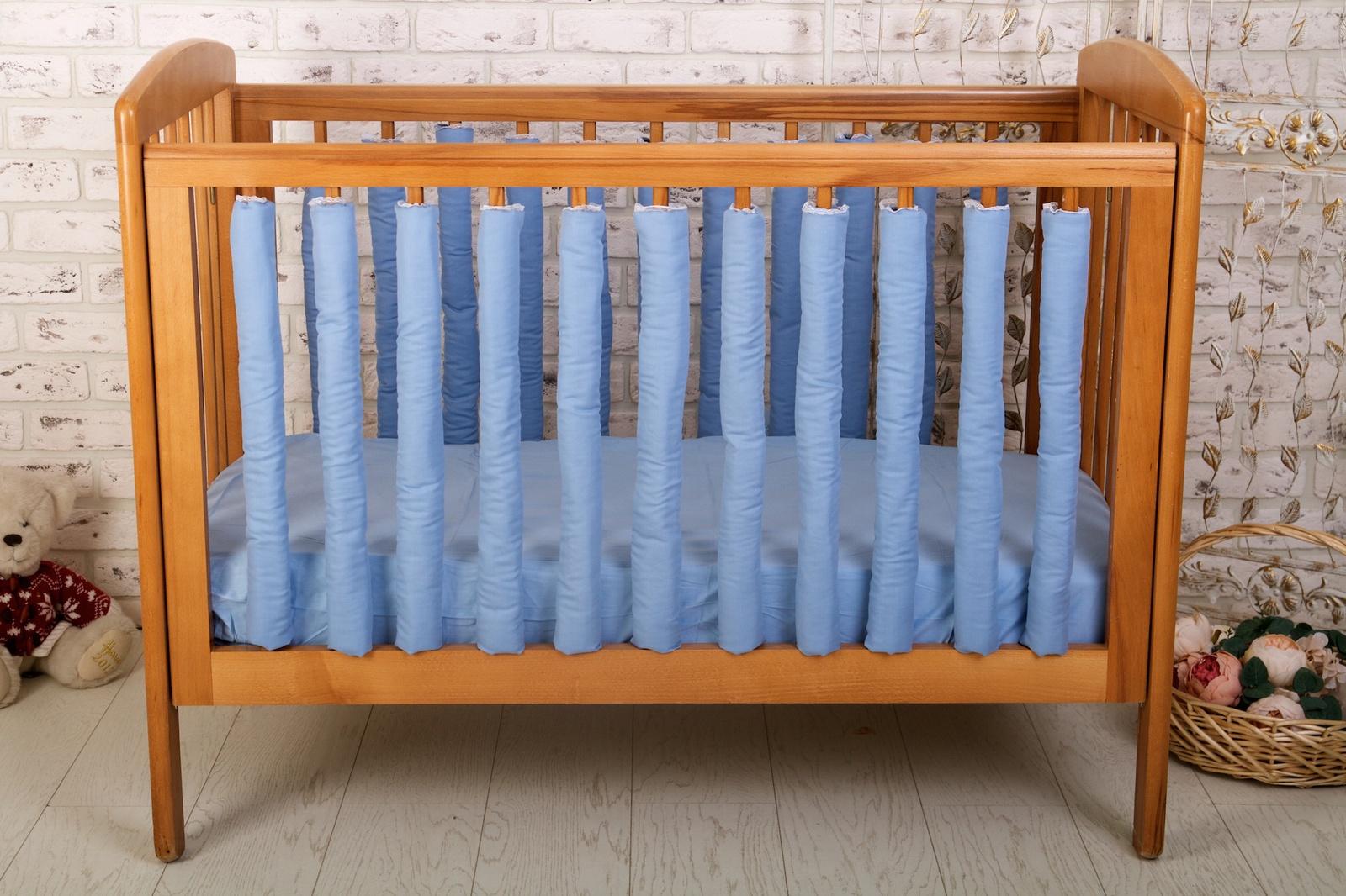 Бортик для кроватки Cloud Factory Blue, голубой цена