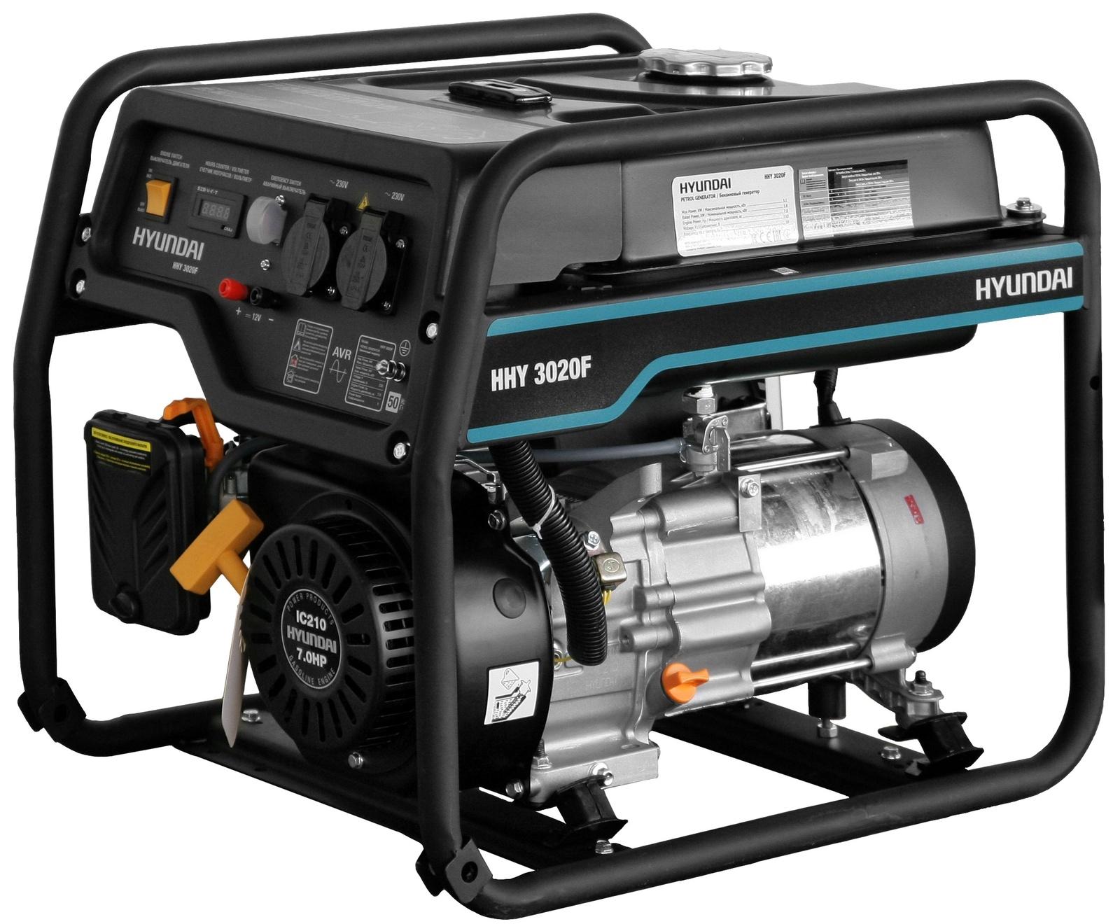 Генератор HYUNDAI бензиновый HHY 3020F генератор бензиновый hyundai hhy 9000fe ats колеса