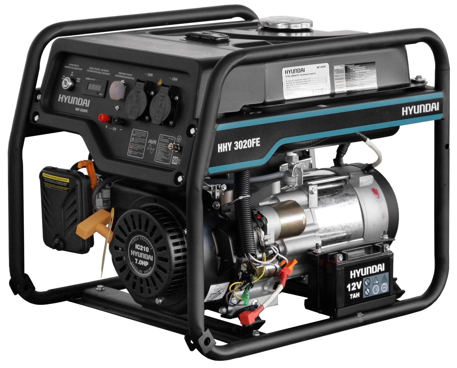 Генератор бензиновый Hyundai, hhy 3020FE, 15 л генератор бензиновый hyundai hhy 9000fe ats колеса
