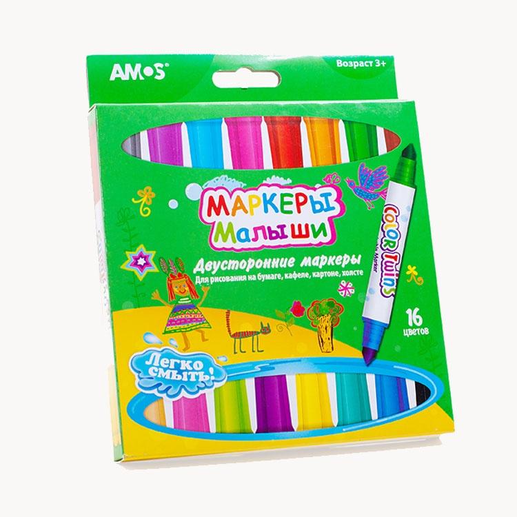 AMOS Фломастеры 16 Цветов, двухсторонние, на водной основе CT16P