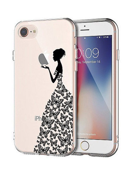 """Чехол для сотового телефона UVOO Art Design """"Девушка в платье из бабочек"""" для Apple iPhone 7 / 8, разноцветный"""