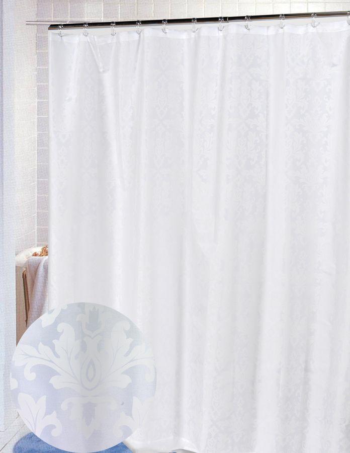 все цены на Шторка для ванной Carnation Home Fashions Damask White, FSCDAM/21, 183 х 178 см онлайн