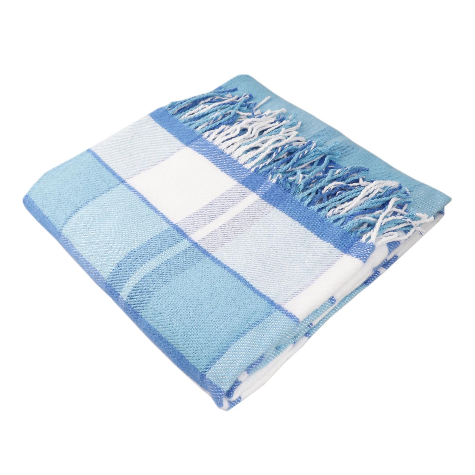 Плед ARLONI хлопковый в клеткуЭдинбург голубой 140*200 авиабилеты москва эдинбург