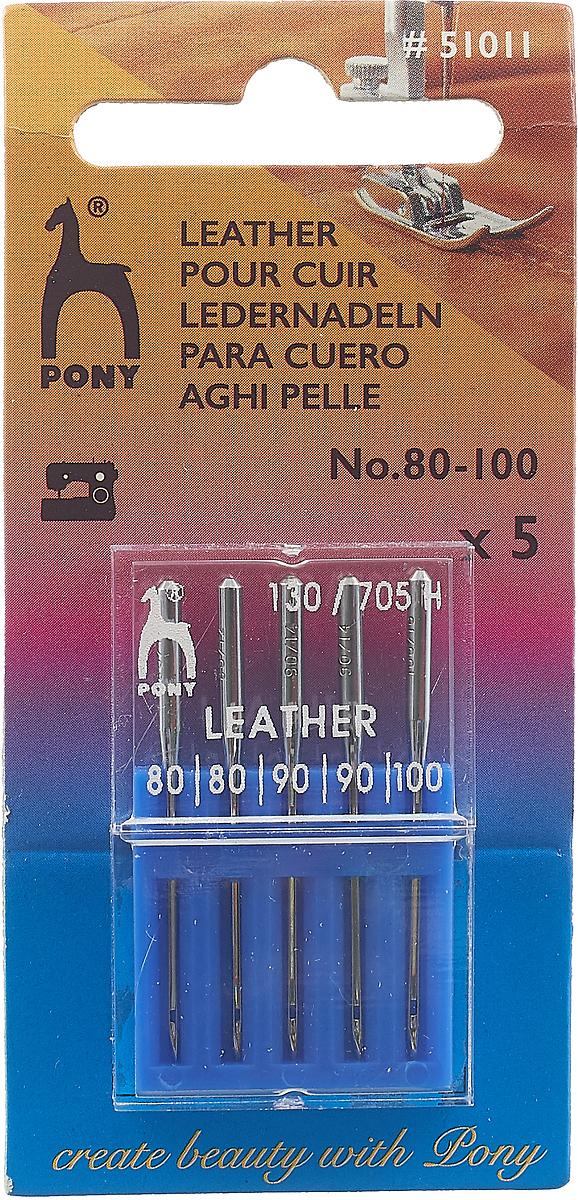 PONY Иглы машинные для кожи № 80-100, 5 шт. 51011