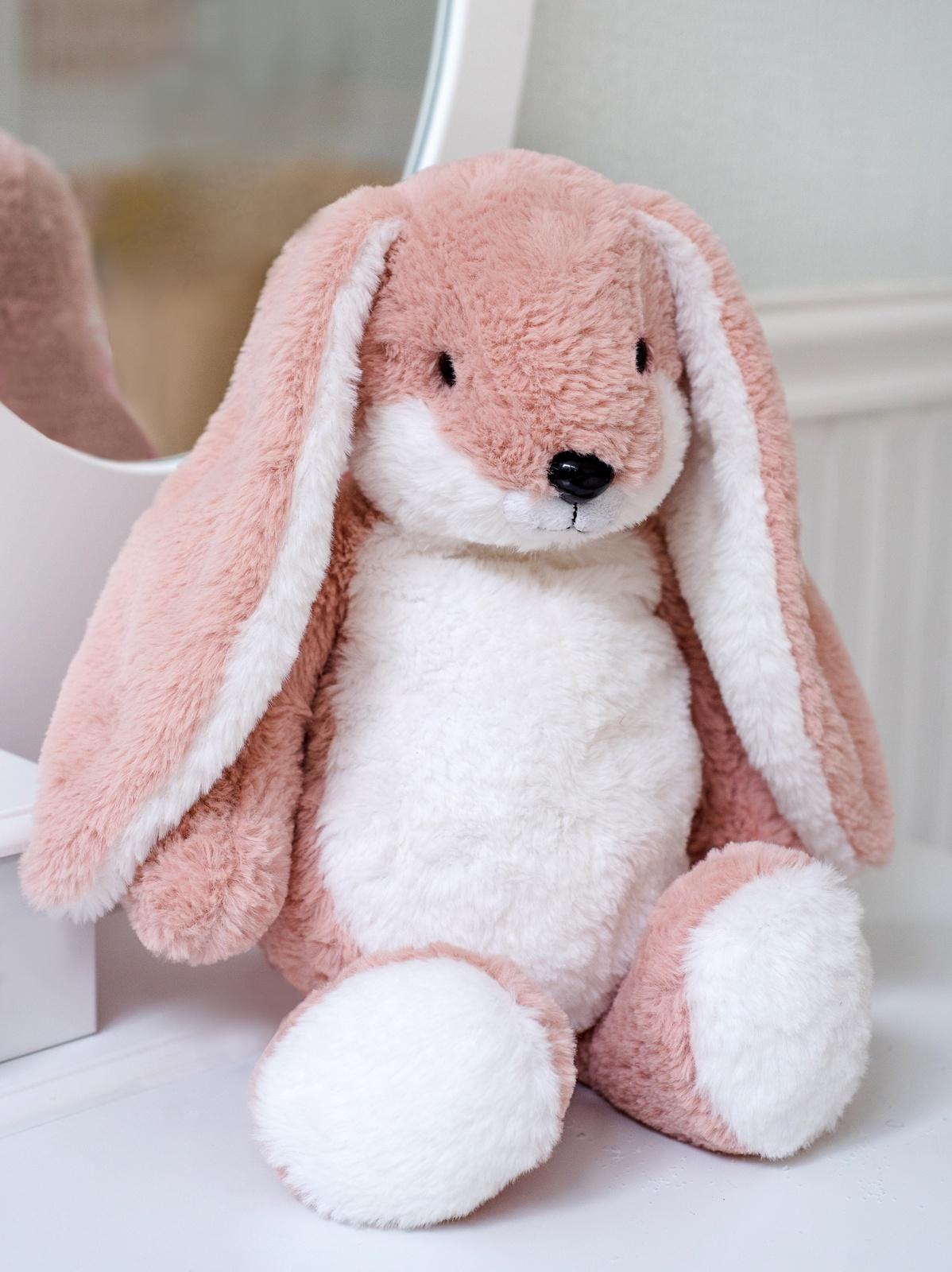 Мягкая игрушка Плюш Ленд Зайка с бантиком светло-розовый