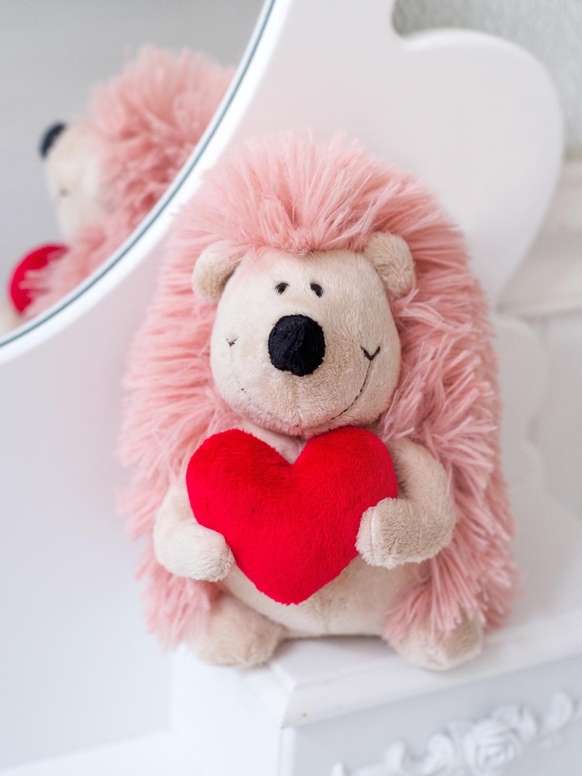 Мягкая игрушка Плюш Ленд Ёжик с сердечком, MA5017/17A светло-розовый