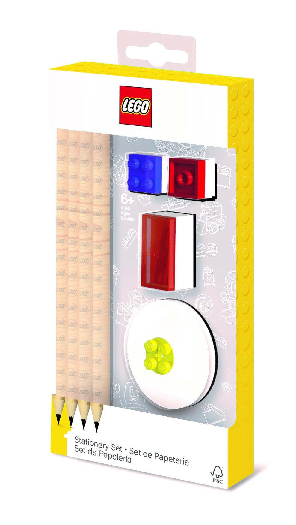 Набор канцелярский: 4 карандаша, 2 насадки, 1 точилка, 1 ластик. LEGO