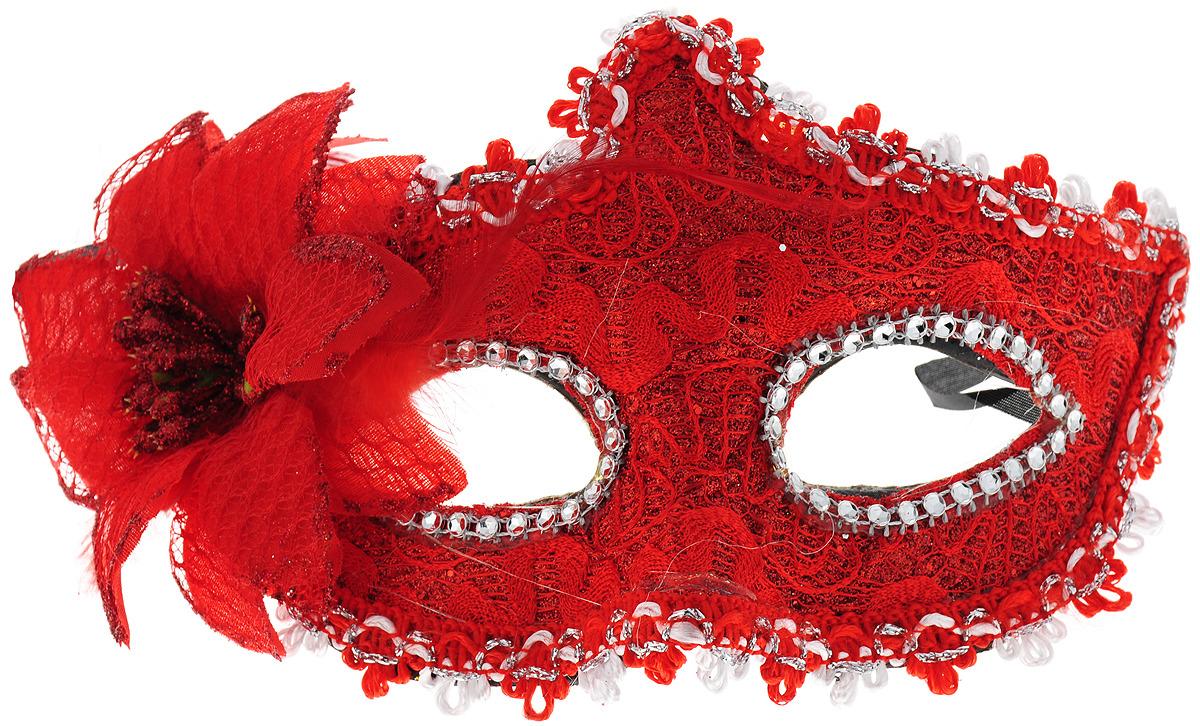 Маска карнавальная Яркий Праздник Красный мак, 18435, красный
