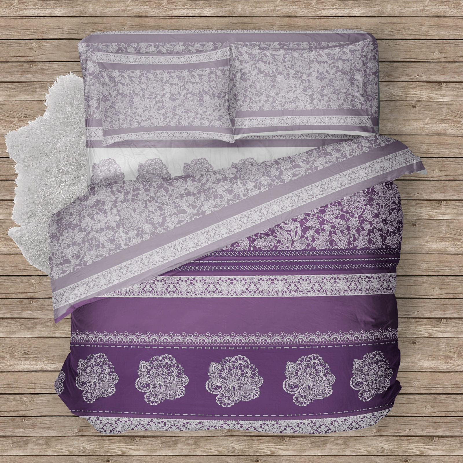 """Комплект белья Традиция """"Кружевные сны"""", 2-спальный, 1206/Кружевные сны, 70x70 см"""