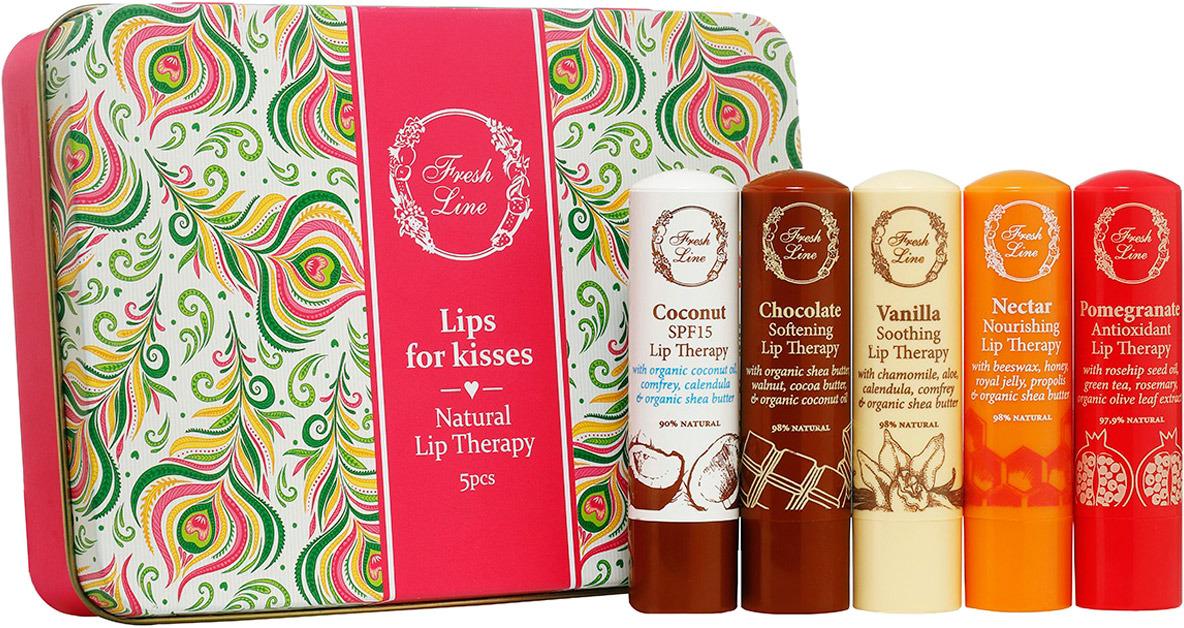 Подарочный набор бальзамов для губ Fresh Line 5 звезд, кокос, гранат, ваниль, нектар, шоколад, 5 шт по 5,4 г pronight fresh line