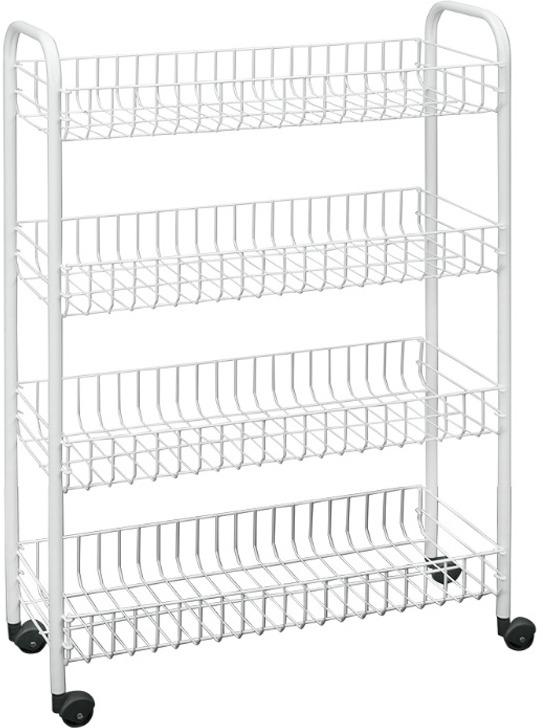 Этажерка Metaltex Snello 34.14.04, 4 яруса, на колесиках, белый этажерка metaltex madrid 2 яруса 41х 23 х 51 см
