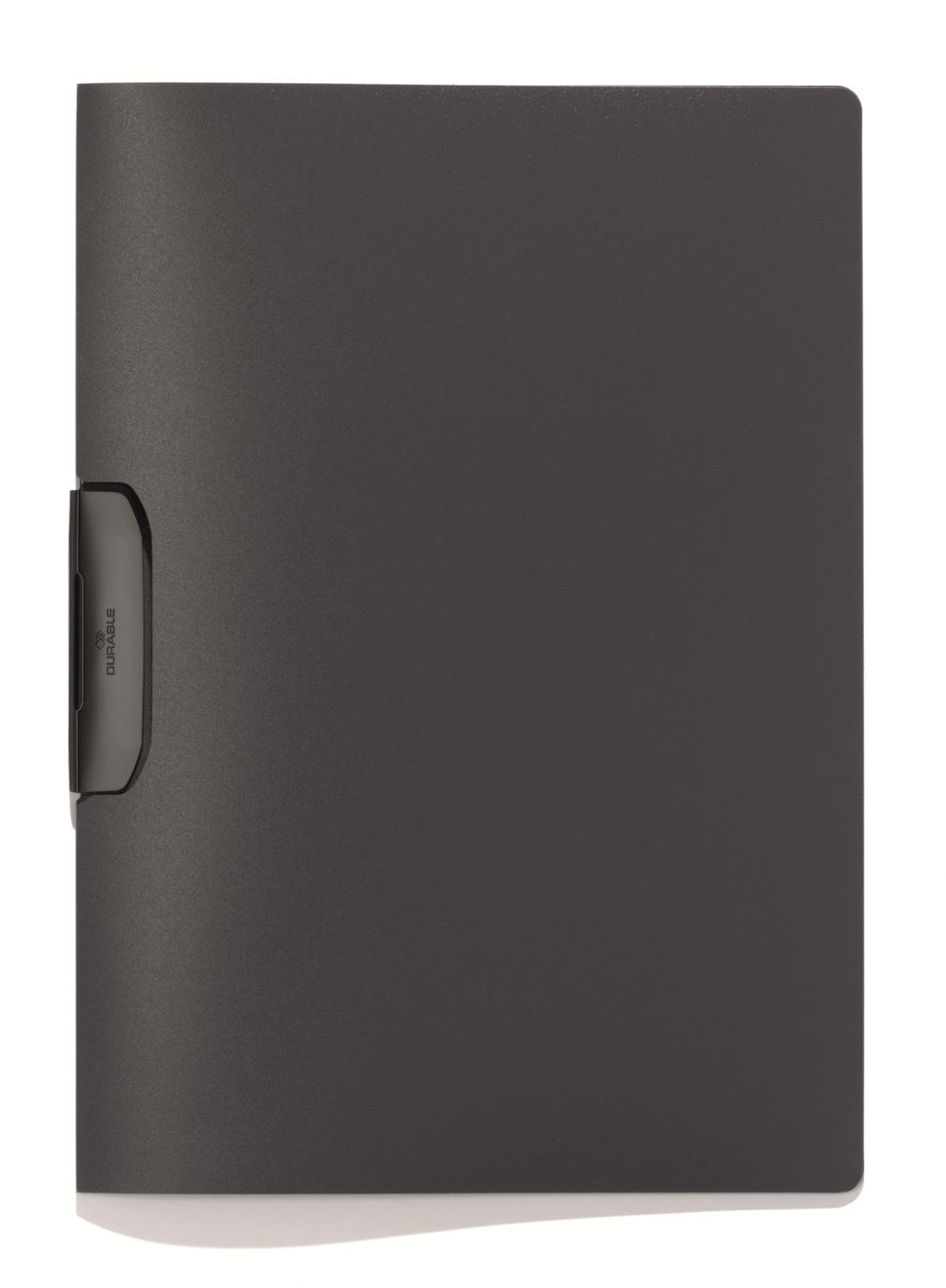 Папка Durable Duraswing на 30 листов, 2295-57, темно-серый2295-57Папка с пластиковым клипом из цветного полупрозрачного полипропилена. Скрепляет до 30 листов.
