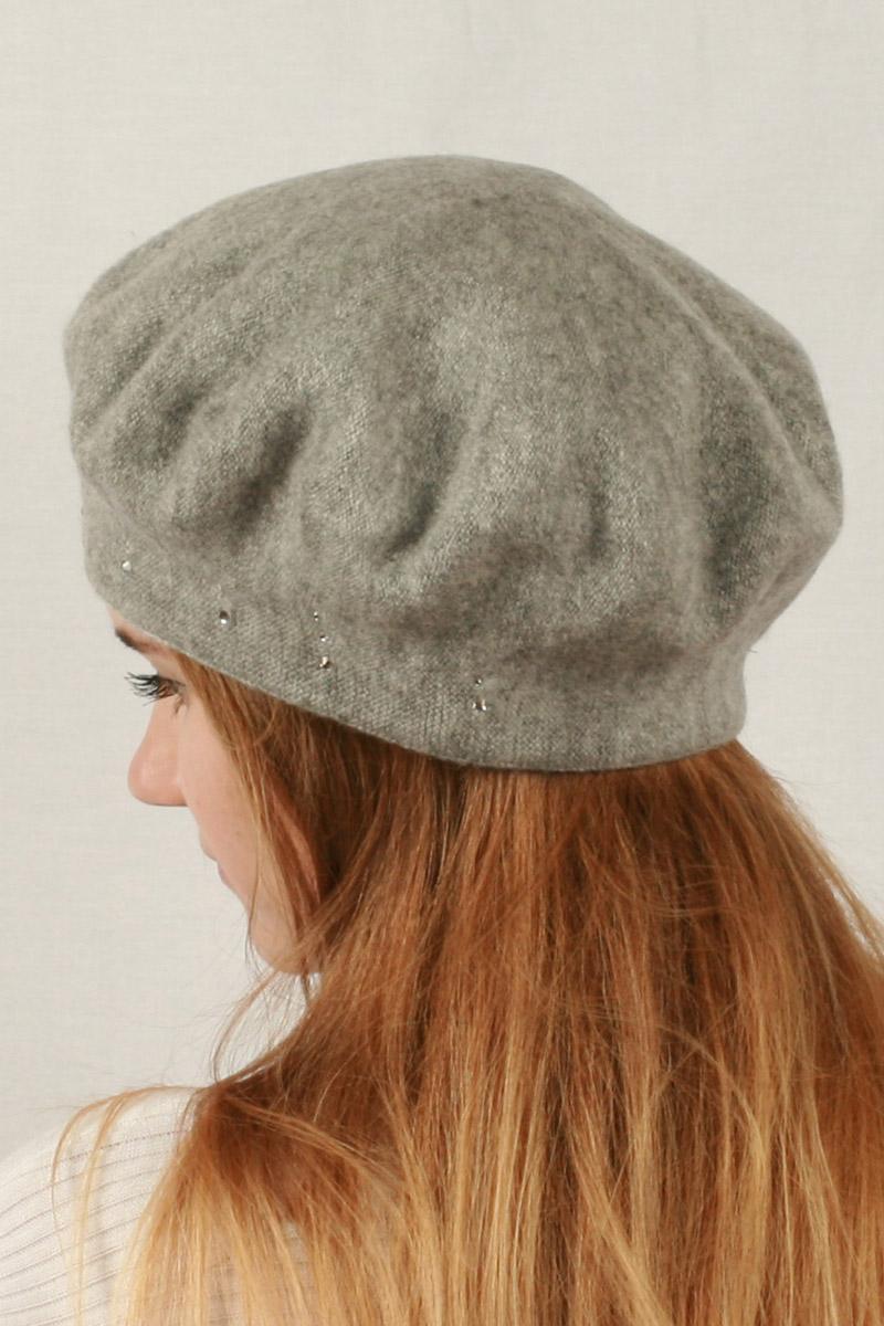 Шапка женская Viving Элен, цвет: светло-серый. ЭЛЕН. Размер 57ЭЛЕНКлассическая модель шапочки берета из натуральной шерсти, украшение модели - стразы по контуру.