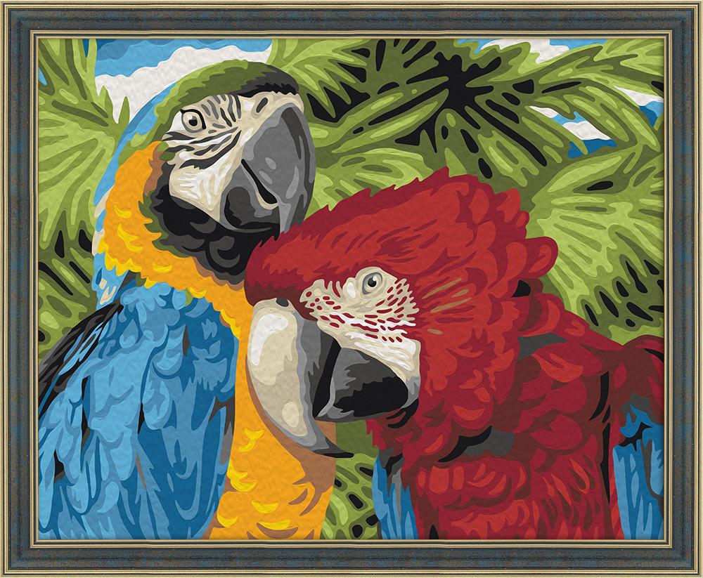 Картина по номерам Мосфа Пара попугаев 7С-0097, 19 цветов, 40см*50см7С-0097Теперь каждый может почувствовать себя художником и украсить интерьер стильной картиной собственного исполнения. В комплекте вы найдете все необходимое для работы! Все схемы для картин отрисованы художниками вручную, их легко и приятно раскрашивать. - Цифры на схеме напечатаны в цвет краски, что позволяет легче ориентироваться в работе. Но главное,Вы потратите меньше сил и краски, чтобы закрасить символ. - В наборах использованы только безопасные краски, соответствующие международному стандарту ISO 14001. Состав набора: 1) Белый грунтованный холст размером 40х50 см на деревянном подрамнике с нанесенной контурной схемой с цветными цифрами. 2) Инструкция с контрольной схемой для сверки, цветным примером и полезными советами по работе с набором. 3) Набор кисточек разного размера с деревянной ручкой.4) Яркие акриловые краски,упакованные в герметичные вакуумные пакетики. Также в комплекте поставляется лак для финишного покрытия. 5) Баночки для удобства работы с красками.