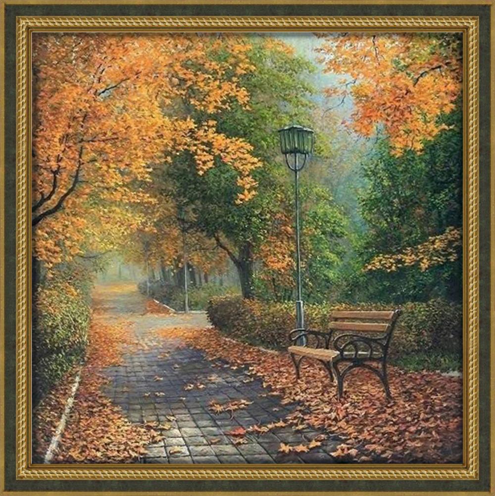 """Картина стразами Алмазная Живопись """"Осенью в парке"""" (АЖ-1160), 40 цветов, 50х50 см"""