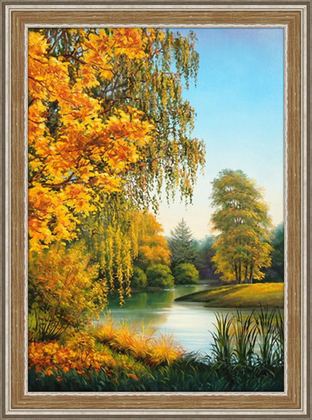 """Картина стразами Алмазная Живопись """"Осенью"""" (АЖ-1167), 44 цвета, 50х70 см"""