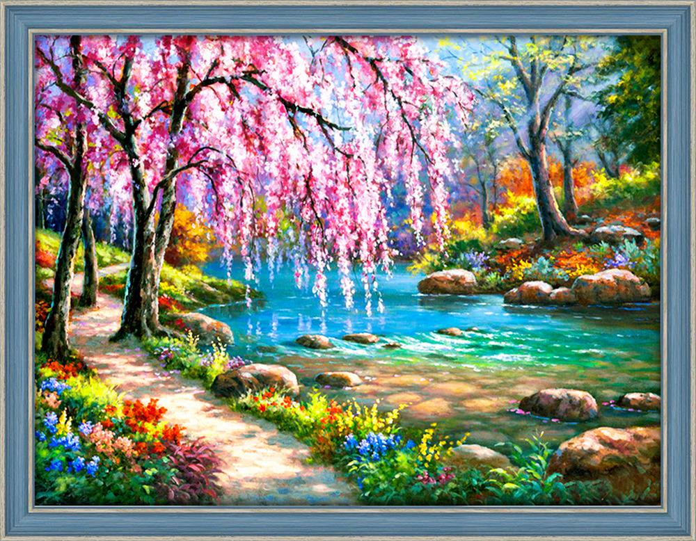 Надписями, анимация весенние пейзажи
