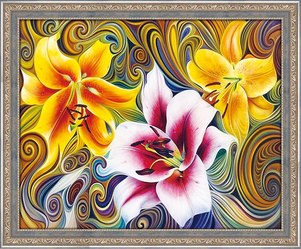 Картина стразами Алмазная Живопись Три лилии (АЖ-1394), 40 цветов, 50х40 смАЖ-1394Алмазная мозаика — уникальная и увлекательная техника рукоделия, она не только проста в исполнении, но и несомненно порадует вас чудесным результатом. Элементы мозаики представляют собой акриловые стразы размером 2,5 х 2,5 мм. Поверхность стразов имеет 9 граней, которые очень эффектно отражают свет. Для производства наборов используются только высококачественные и безопасные для здоровья материалы! Этот вид хобби позволит вам прекрасно провести время и расслабиться. Занятие рукоделием помогает развить внимательность и аккуратность. Но самое главное —готовая картина станет прекрасным декором для вашего дома. Украсьте интерьер шедевром, сделанным своими руками! Состав набора: Холст с цветной схемой Пинцет или стилус Лоток для стразов Комплект квадратных стразов Инструкция по работе Все, что нужно — уже в коробке. Просто выберите любимый сюжет и приступайте к творчеству!