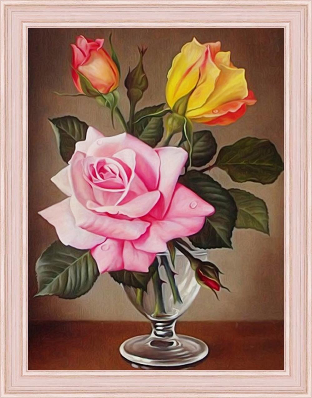 Картина стразами Алмазная Живопись Розы в фужере (АЖ-1513), 31 цвет, 30х40 см ar 1228 фигурка крест с цв кр юнион