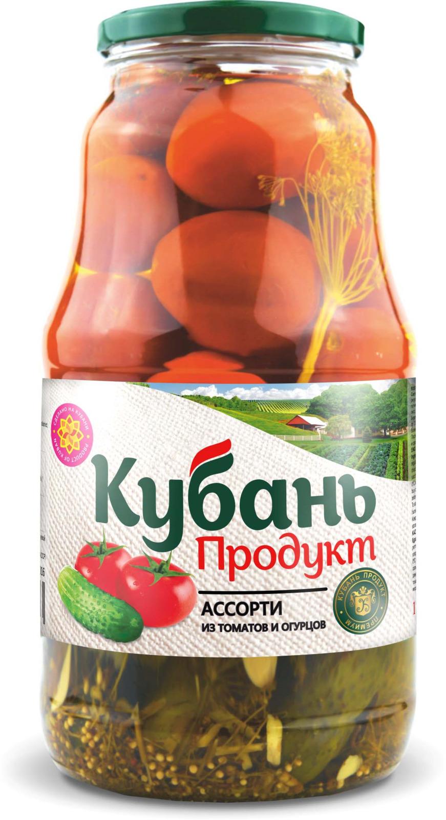 Кубань Продукт ассорти маринованное, 1,8 кг кубань продукт компот вишневый 1 л