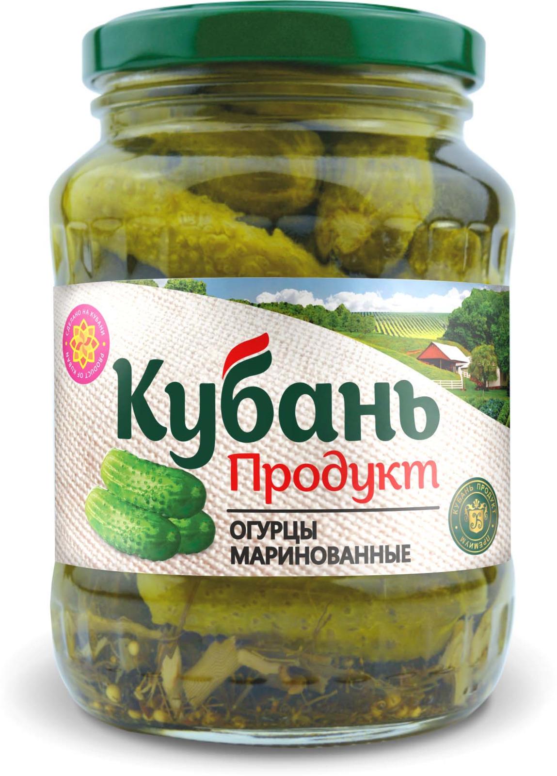 Кубань Продукт огурцы маринованные, 390 г кубань продукт компот из кизила 1 л