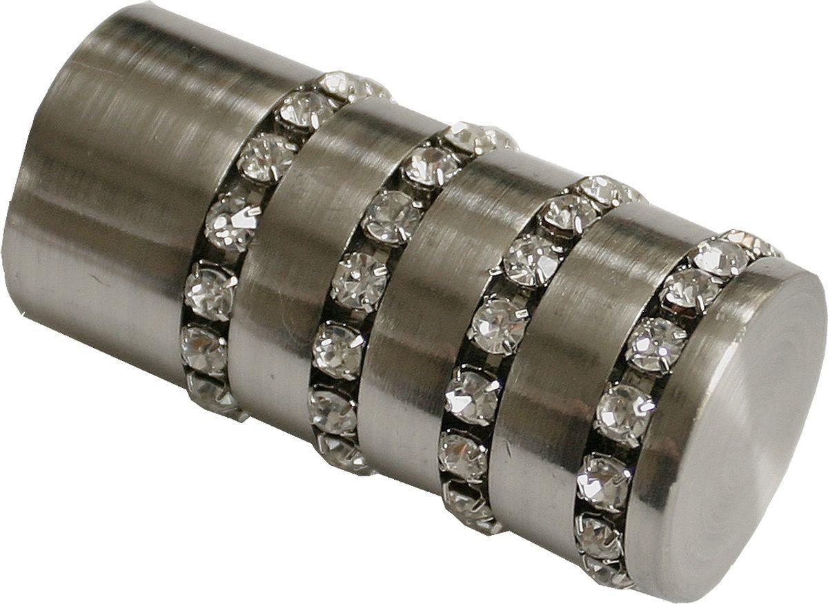 Наконечник для карниза Уют Цилиндр со стразами 26.21ТО.2608, сталь, диаметр 25 см, 2 шт наконечник для карниза уют цилиндр 2 26 21то 0221 шампань диаметр 25 см 2 шт