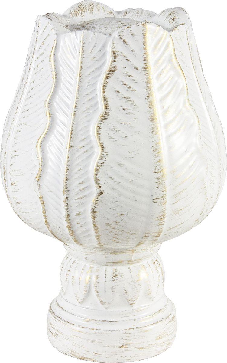 """Наконечник для карниза Уют """"Тюльпан"""" 26.21ТО.5195, белый, золото, диаметр 25 см, 2 шт"""