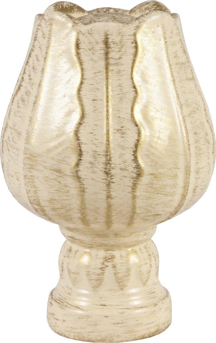 """Наконечник для карниза Уют """"Тюльпан"""" 26.21ТО.5194, ваниль, золото, диаметр 25 см, 2 шт"""