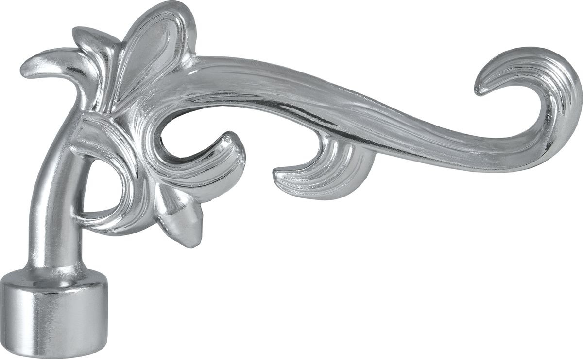 """Наконечник для карниза Уют """"Лиана"""" 26.21ТО.5309, хром, диаметр 25 см, 2 шт"""