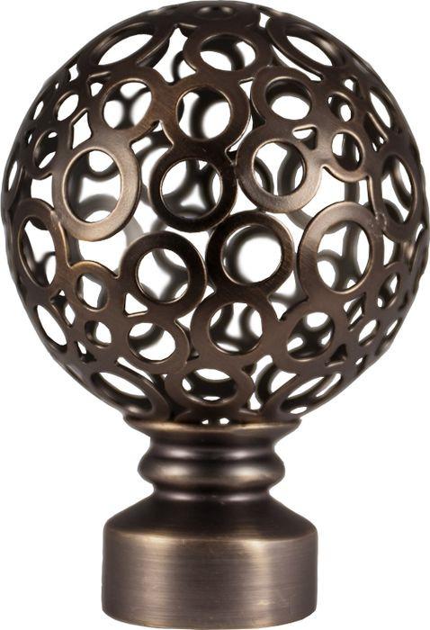 Наконечник для карниза Уют Шар ажурный 17.21ТО.2402, шоколад, диаметр 16 см, 2 шт17.21ТО.2402Форма наконечников может отличаться изысканностью и стать дополнительным украшением окна. Самым популярным вариантом остается круглый наконечник, но можно приобрести изделия с завитками, с цветочным мотивом, в виде веера, пики или ромба.
