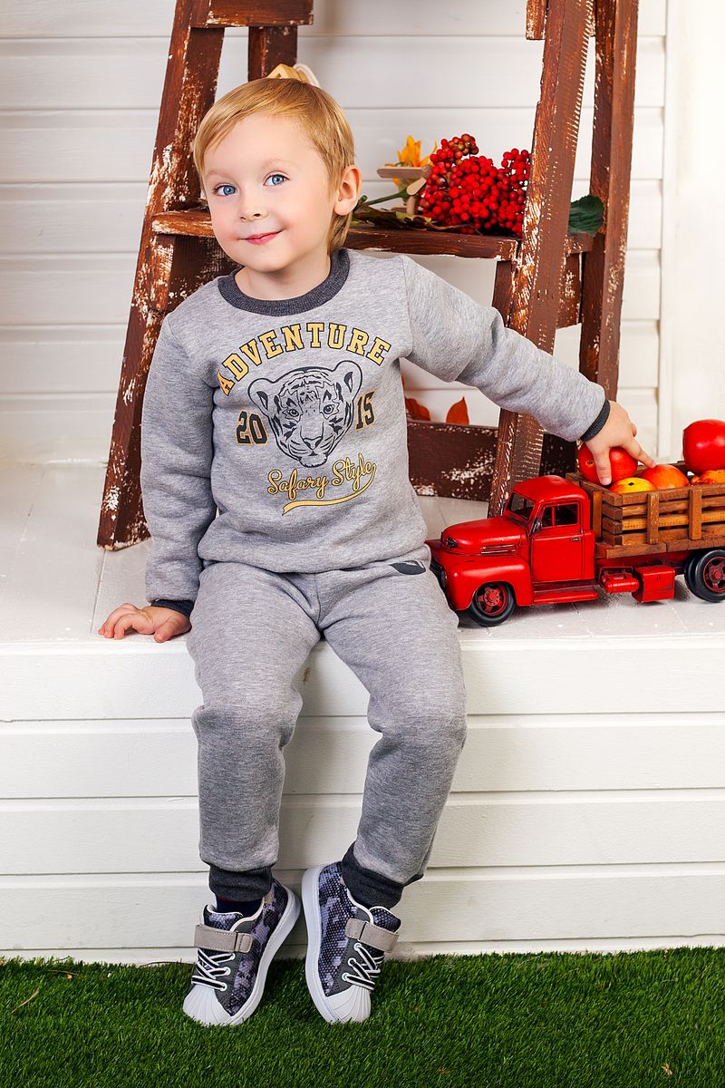 Толстовка для мальчика Веселый малыш Сафари, цвет: серый. 164/140/Саф. Размер 116164/140/Саф