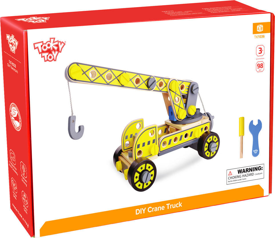 "Конструктор деревянный Tooky Toy ""Кран"", TKF036, желтый"